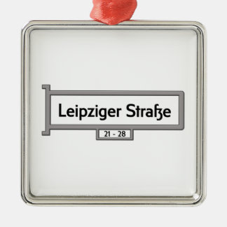 Leipziger Strasse, placa de calle de Berlín Adorno Cuadrado Plateado