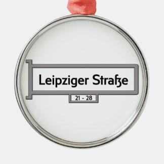 Leipziger Strasse, placa de calle de Berlín Adorno Redondo Plateado