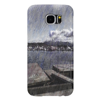Leirvik harbor with boat samsung galaxy s6 case