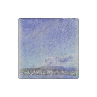 Leirvik harbor with boat stone magnet