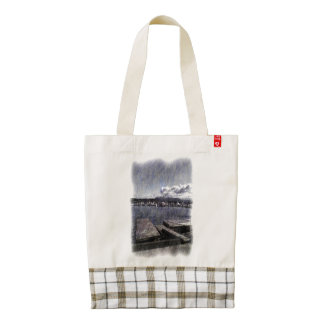 Leirvik harbor with boat zazzle HEART tote bag