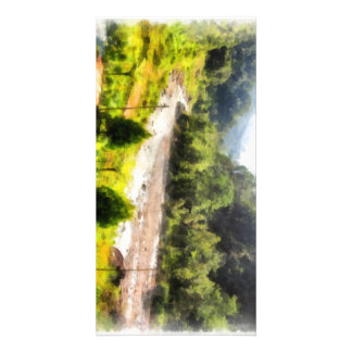 Leisurely flow of river through greenery photo card