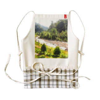 Leisurely flow of river through greenery zazzle HEART apron