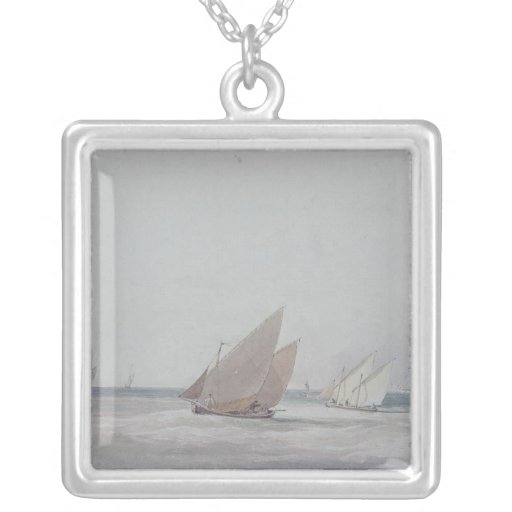 Leith Roads with Shipping, 19th century Square Pendant Necklace