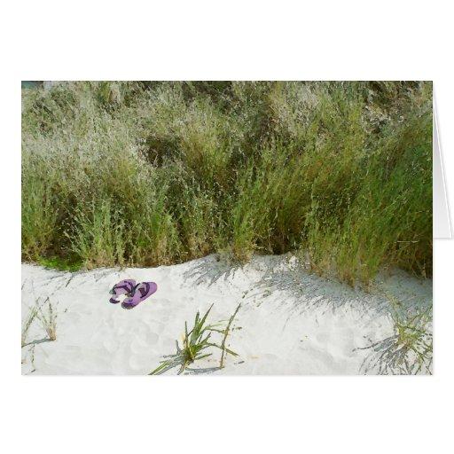 Lejos en la playa tarjeton