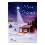 Lejos en una tarjeta de Navidad del pesebre