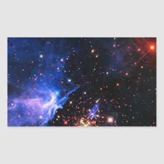 Lejos galaxia pegatina rectangular