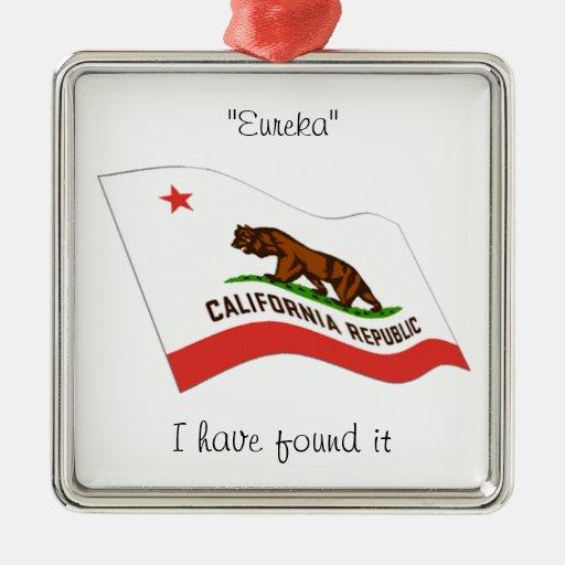 Lema de California Adorno Navideño Cuadrado De Metal