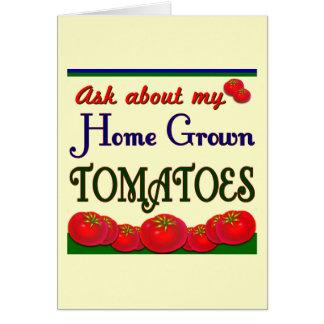 Lema de cosecha propia del jardín del tomate tarjeta de felicitación