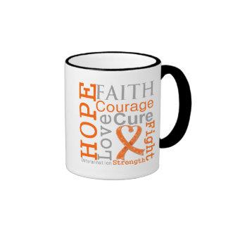 Lema de la fe de la esperanza de la leucemia taza a dos colores