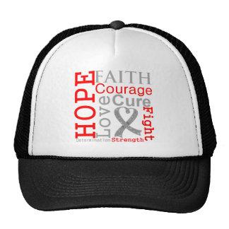 Lema de la fe de la esperanza del cáncer de cerebr gorros