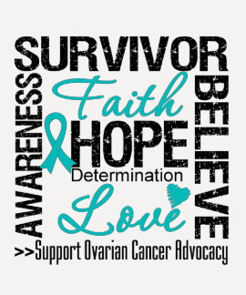 Lema de los supervivientes del cáncer ovárico camisetas