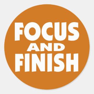 Lema de motivación del foco y del final pegatina redonda