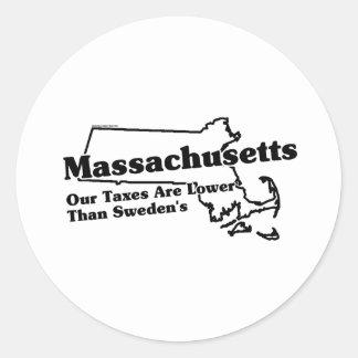 Lema del estado de Massachusetts Pegatina Redonda