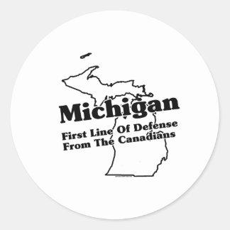 Lema del estado de Michigan Pegatina Redonda