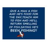 Lema divertido de la pesca postales