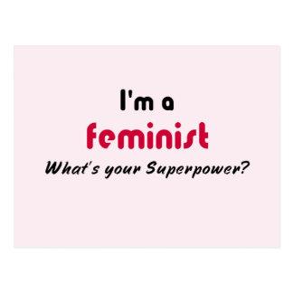 Lema feminista del superpoder tarjetas postales