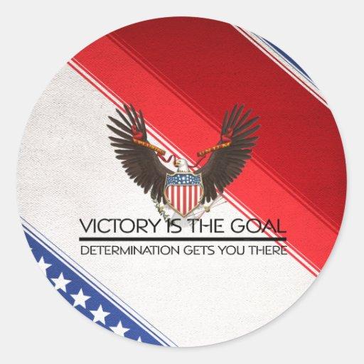 Lema político de la victoria de la CAMISETA Etiquetas Redondas