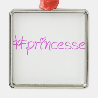 Lema #princesse adorno navideño cuadrado de metal