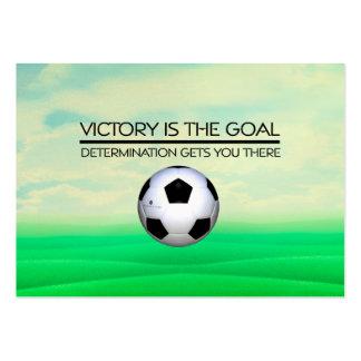 Lema SUPERIOR de la victoria del fútbol Tarjetas De Visita Grandes