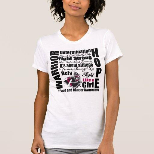 Lemas de la lucha del guerrero del cáncer de cabez camisetas