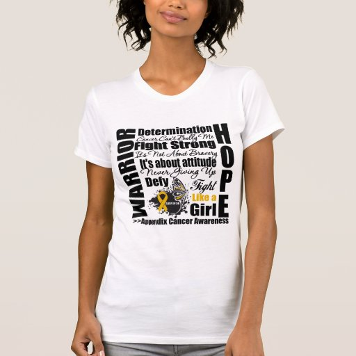Lemas de la lucha del guerrero del cáncer del apén camisetas