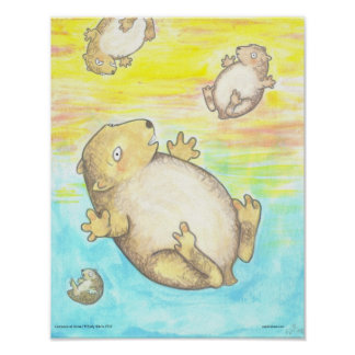 Lemmings at Sunset Lowbrow Cartoon rodents art Poster
