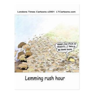 Lemmings Rush Hour Funny Postcard