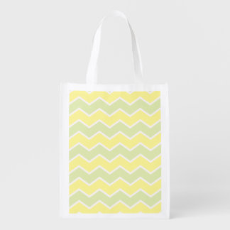 Lemon and light green Chevron Zig Zag Reusable Grocery Bag