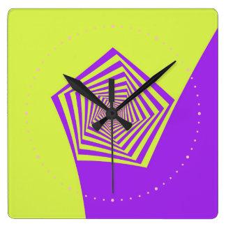 Lemon and Lilac Spiral Square Wall Clocks