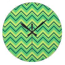 lemon and lime chevron zigzag clock