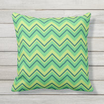 lemon and lime chevron zigzag outdoor pillow