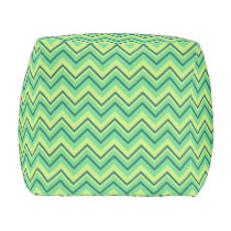lemon and lime chevron zigzag pouf