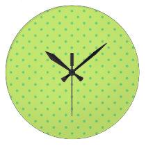 lemon and lime polka dots clock