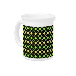 Lemon and Lime Rings and Polka Dots by STaylor Beverage Pitcher