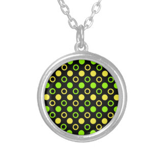 Lemon and Lime Rings and Polka Dots by STaylor Silver Plated Necklace