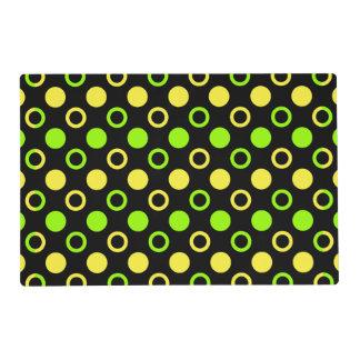 Lemon And Lime Rings And Polka Dots Laminated Place Mat