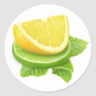 Lemon and lime slices classic round sticker