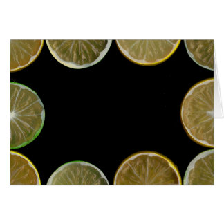Lemon and Lime slices frame, black background Stationery Note Card
