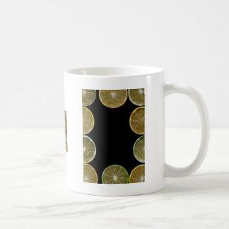 Lemon and Lime slices frame, black background Classic White Coffee Mug