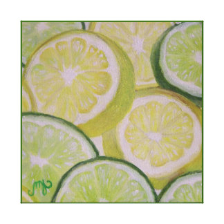 Lemon and Lime Slices - Stretched Canvas Print