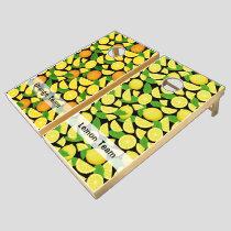Lemon and Orange Background Cornhole Set