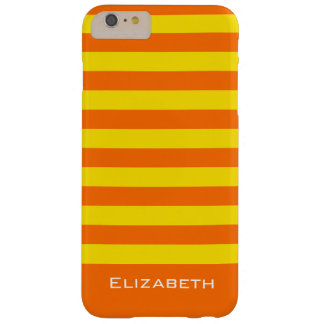 Lemon and Orange Stripes Custom Name Barely There iPhone 6 Plus Case
