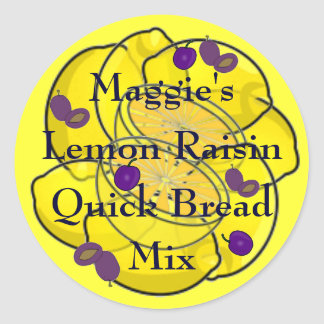Lemon and Prune Grape Raisin Quick Bread Mix Classic Round Sticker
