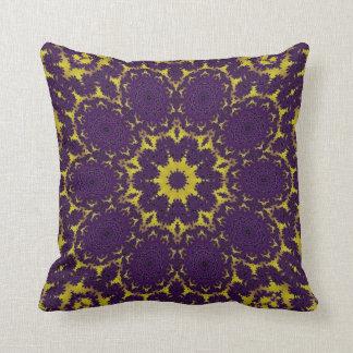lemon and purple fractal kaleidoscope design pillows