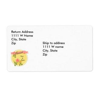 Lemon and Rose Wedding Medallion Label