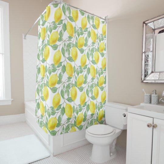 Lemon And Sage Green Vines Bathroom Shower Curtain