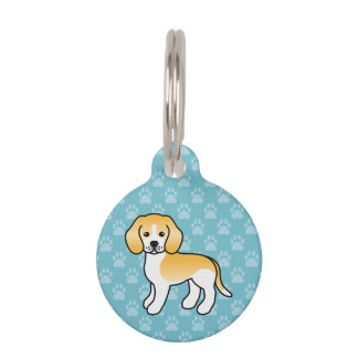 Lemon And White Beagle Hound Dog With Dog's Info Pet Tag