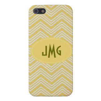 Lemon and White Chevron Monogram iPhone 5 Case