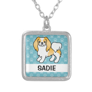 Lemon And White Japanese Chin Cartoon Dog Silver Plated Necklace